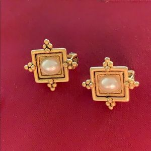 Express gold and pearl tone clip on earrings